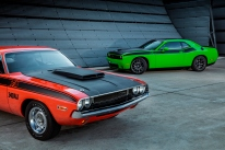 1970 Dodge Challenger T/A (left) and 2017 Dodge Challenger T/A (right)