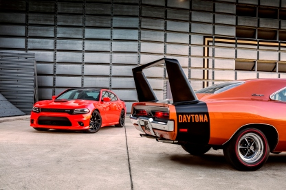 2017 Dodge Charger Daytona 392 (left) and 1969 Dodge Charger Daytona (right)