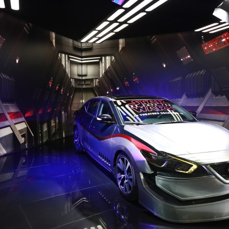 2018 Maxima inspired by Star Wars: The Last Jedi character Captain Phasma on display at the 2018 LA Auto Show.