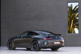 Mercedes-AMG GT 63 S 4MATIC+ 4-Türer Coupé, AMG Carbon-Paket, Exterieur: Außenfarbe: Graphitgrau magno, Rad: AMG Schmiederad im 7-Doppelspeichen-Design, Farbvariante schwarz;Kraftstoffverbrauch kombiniert: 11,2 l/100 km; CO2-Emissionen kombiniert: 256 g/km* (vorläufige Daten) Mercedes-AMG GT 63 S 4MATIC+ 4-Door Coupé, AMG Carbon-packet, Exterior: Exterior paint: graphite grey magno, Wheel: AMG Performance wheels in 7-double crossing design, colour variation black;Fuel consumption combined: 11,2 l/100 km; CO2 emissions combined: 256 g/km* (provisional data)