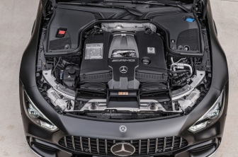 Mercedes-AMG GT 63 S 4MATIC+ 4-Türer Coupé, AMG Carbon-Paket, Exterieur: Motorraum, Außenfarbe: Graphitgrau magno;Kraftstoffverbrauch kombiniert: 11,2 l/100 km; CO2-Emissionen kombiniert: 256 g/km* (vorläufige Daten) Mercedes-AMG GT 63 S 4MATIC+ 4-Door Coupé, AMG Carbon-packet, Exterior: Engine compartment, Exterior paint: graphite grey magno;Fuel consumption combined: 11,2 l/100 km; CO2 emissions combined: 256 g/km* (provisional data)